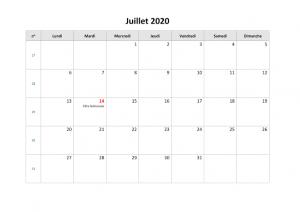 Calendrier Juillet 2020 à imprimer