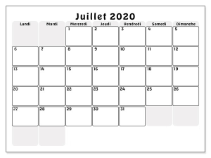 Calendrier Juillet2020 Mensuel