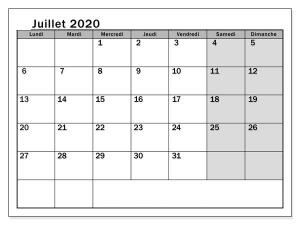 Calendrier Juillet 2020 jours fériés