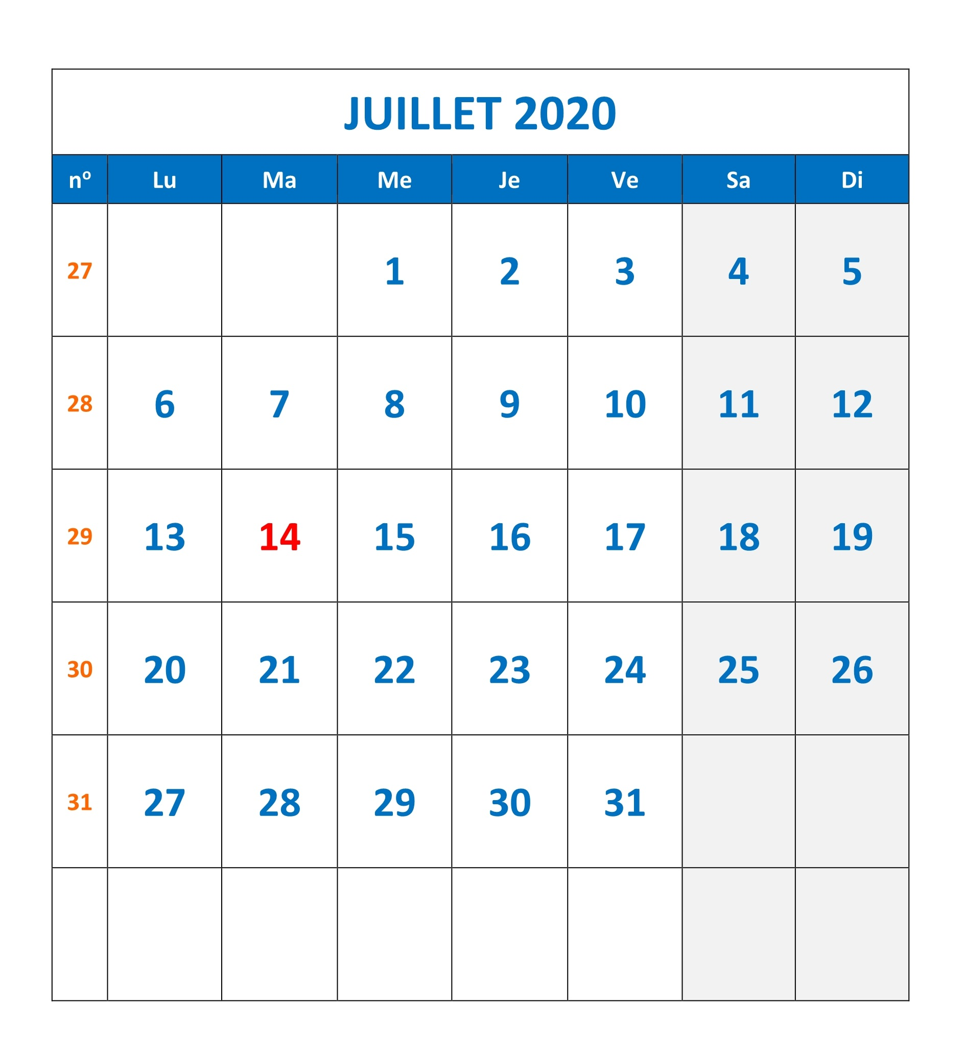 Calendrier Juillet 2020 vacances