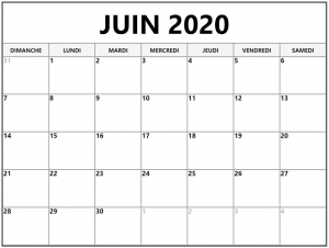 Calendrier Juin 2020 à imprimer