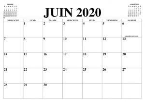 Calendrier Juin2020 Mensuel