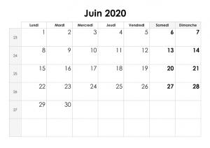 Calendrier Juin 2020 jours fériés