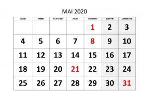 Calendrier Mai 2020 jours fériés