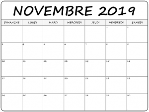 Calendrier Novembre2020 Mensuel