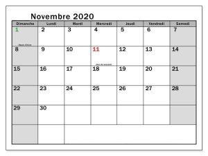 Calendrier Novembre 2020 jours fériés
