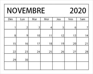 Calendrier Novembre 2020 vacances
