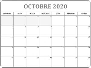 Calendrier Octobre 2020 à imprimer