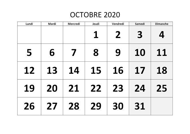 Calendrier Octobre 2020 Vacances
