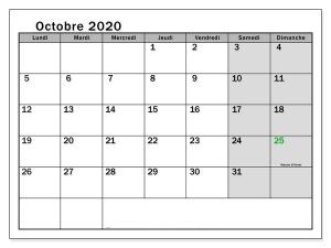 Calendrier Octobre 2020 jours fériés