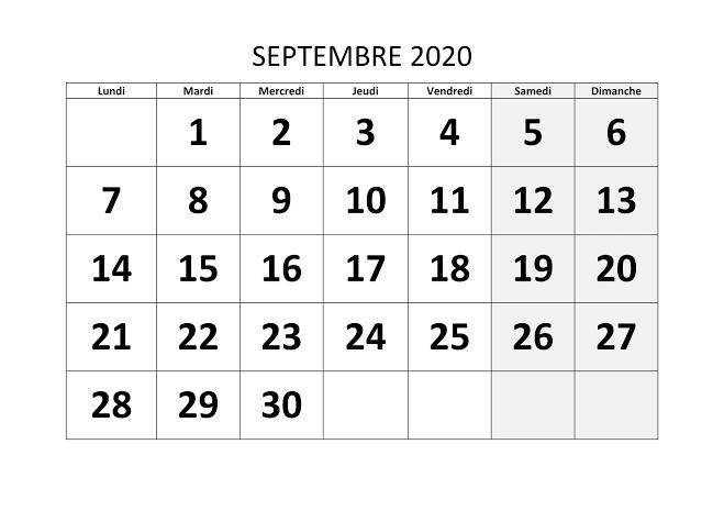 Calendrier Septembre 2020 à imprimer