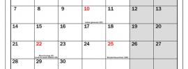 Calendrier Septembre 2020 jours fériés