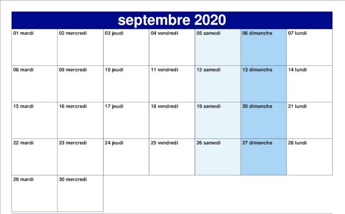 Calendrier Septembre 2020 vacances
