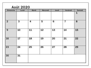 Calendrier août 2020 à imprimer