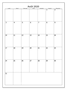 Calendrier août2020 Mensuel