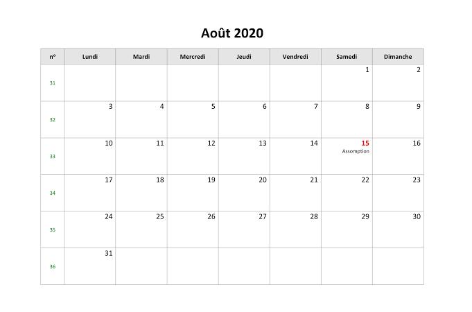 Calendrier août 2020 vacances