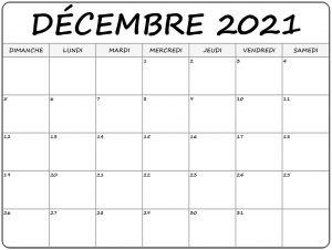 Calendrier 2021 Décembre à imprimer: Calendrier des vacances décembre