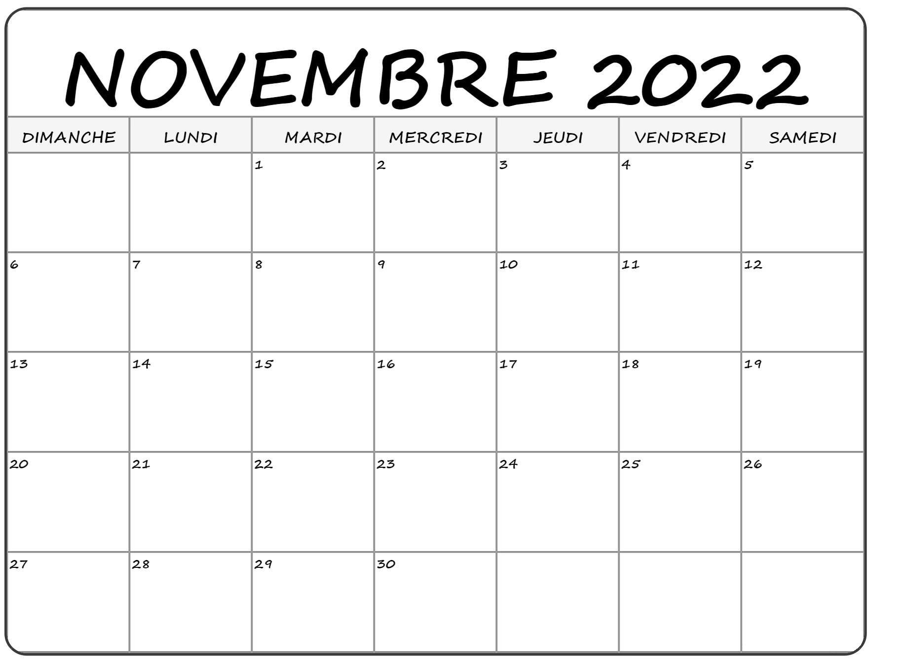Calendrier 2022 Novembre à imprimer: Calendrier des vacances novembre