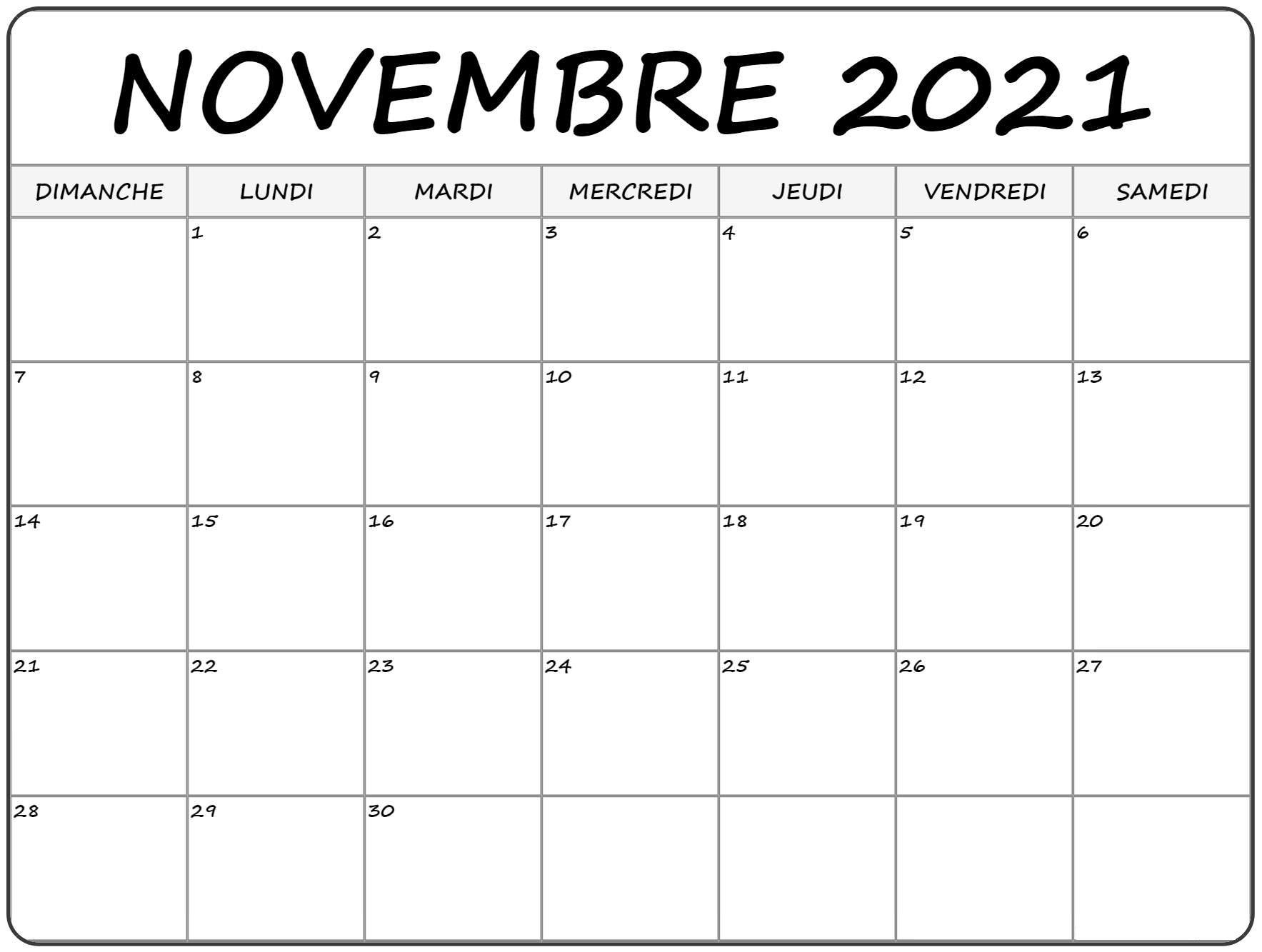 Calendrier Novembre 2021 à imprimer: Calendrier Novembre Vacances