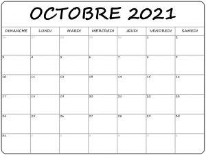 2021 Calendrier Octobre à imprimer: Calendrier Octobre Vacances