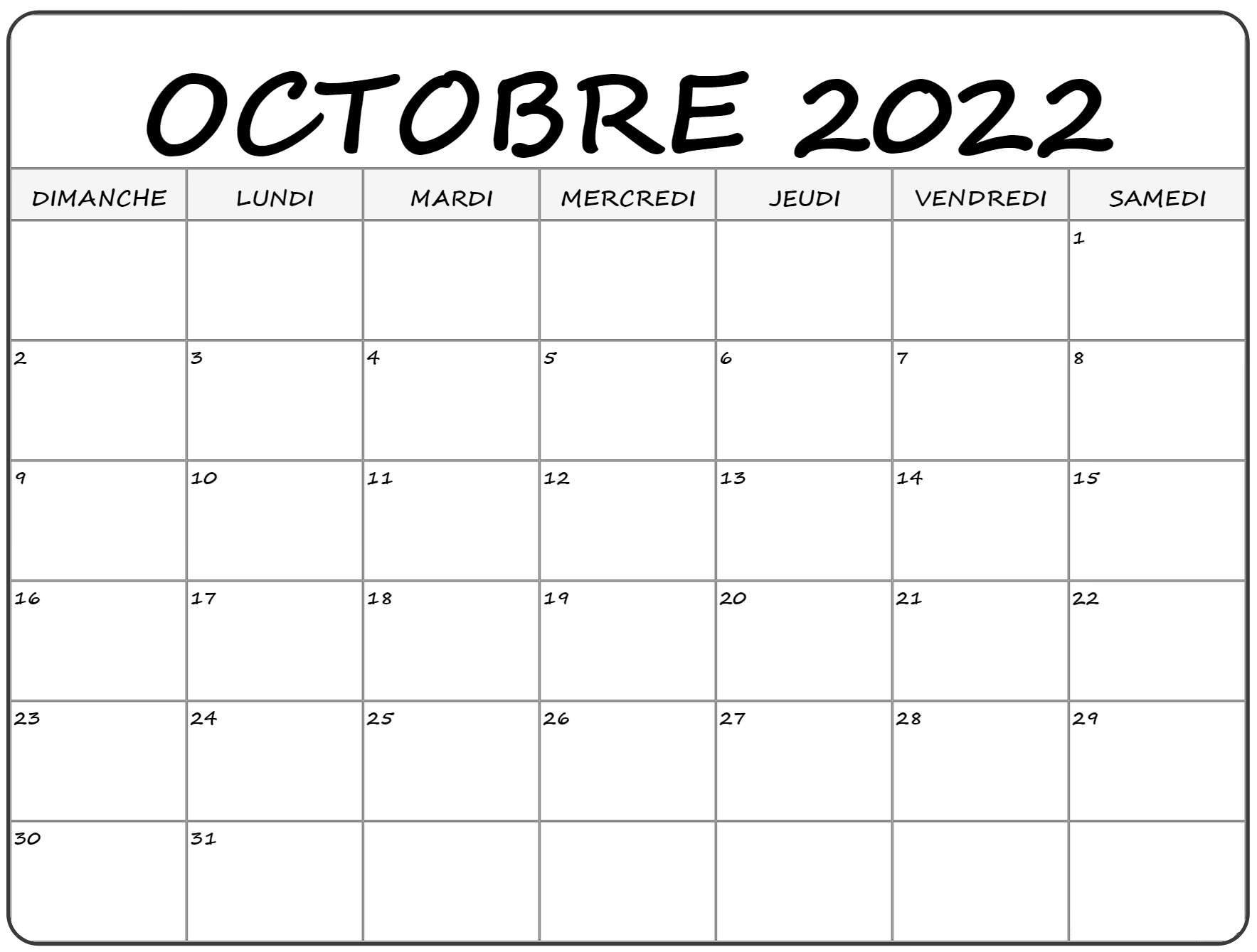 Calendrier Octobre 2022 à imprimer: Calendrier Octobre Vacances