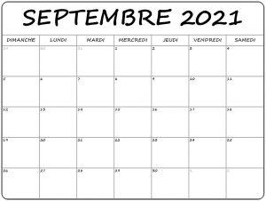 Calendrier Septembre 2021 à imprimer: Calendrier Septembre Vacances