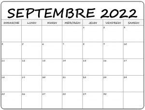 2022 Calendrier Septembre à imprimer: Calendrier Septembre Vacances
