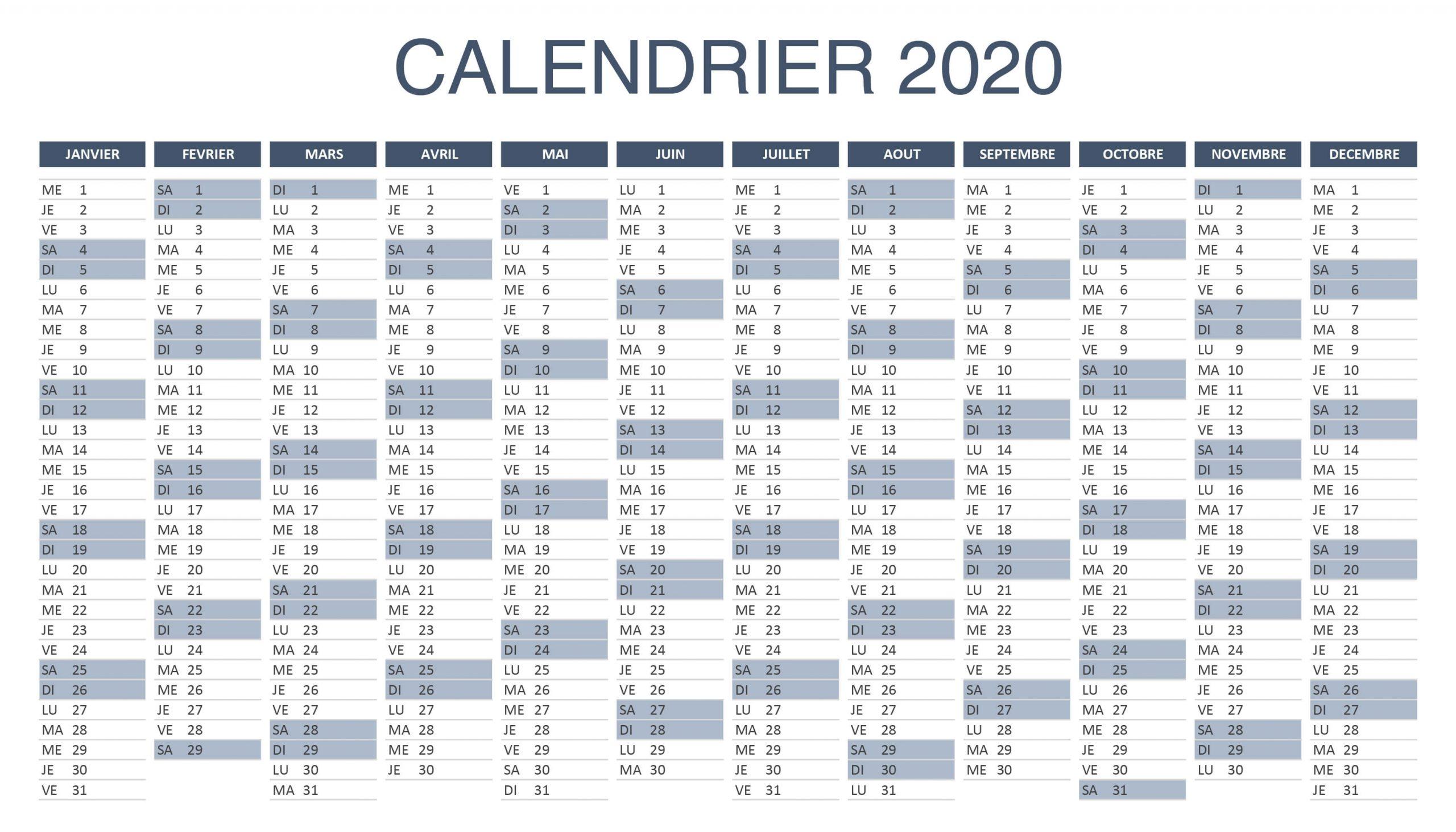 Calendrier 2020 a Imprimer