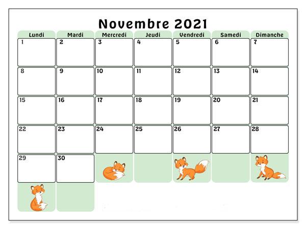 Calendrier Novembre 2021 Vacances