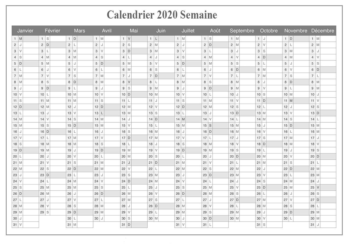 Calendrier 2020 Excel Modifiable Gratuit