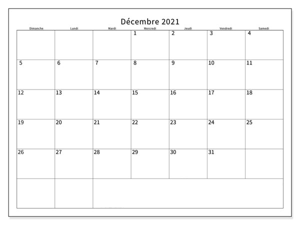 Calendrier Décembre 2021 vacances