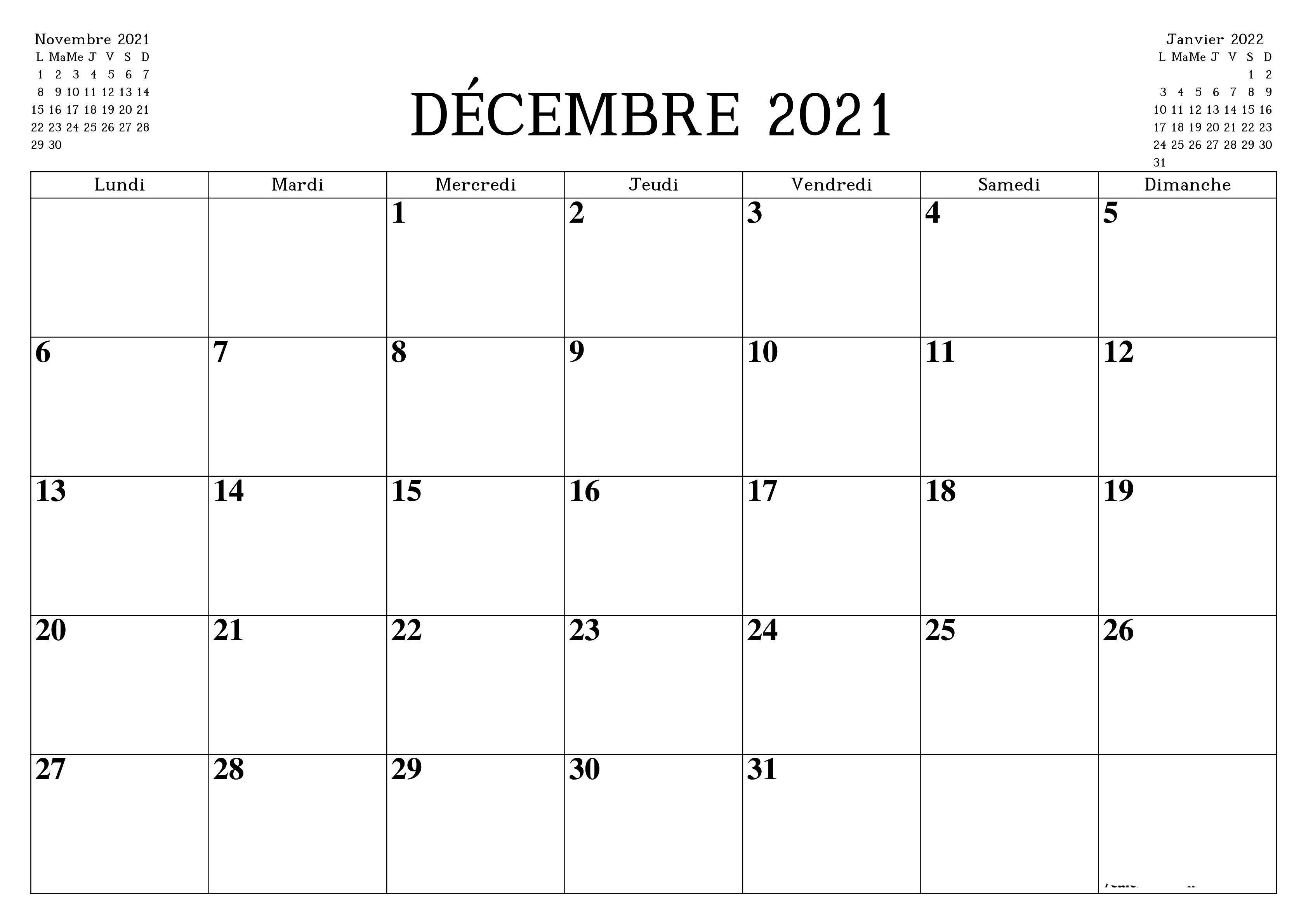 Calendrier Décembre 2021 Jours Fériés à Imprimer | Calendrier 2020