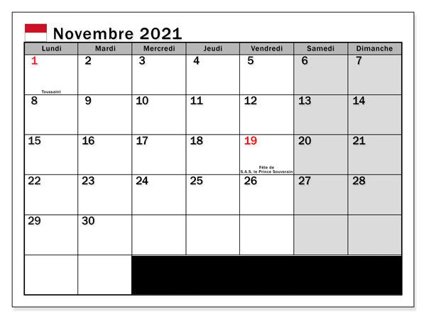 Calendrier Novembre 2021 Imprimer