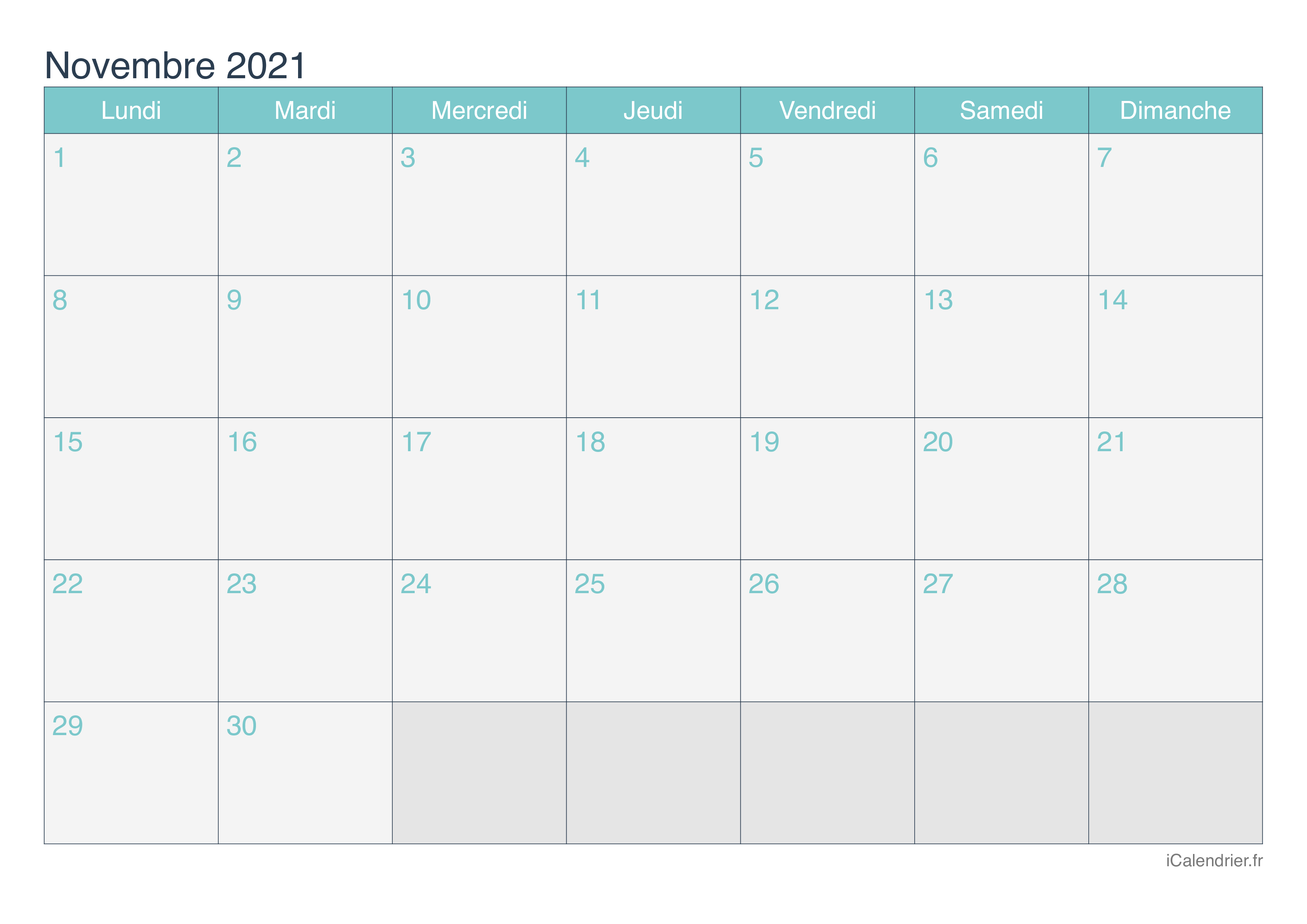 Calendrier Novembre 2021 Jours fériés à Imprimer | Calendrier 2020