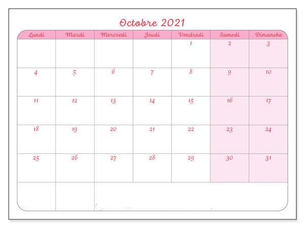 Calendrier Octobre 2021 Jours fériés à Imprimer