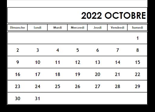 Calendrier Octobre 2022 vacances