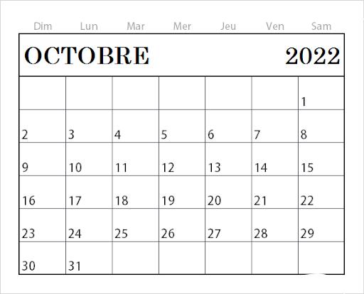 Calendrier Octobre 2022