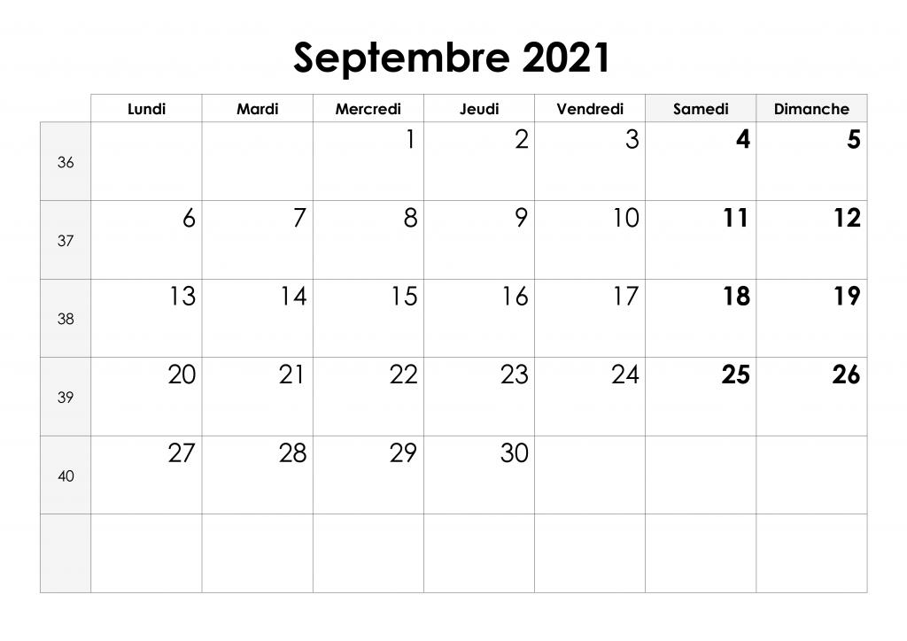 Calendrier Septembre 2021 Mensuel