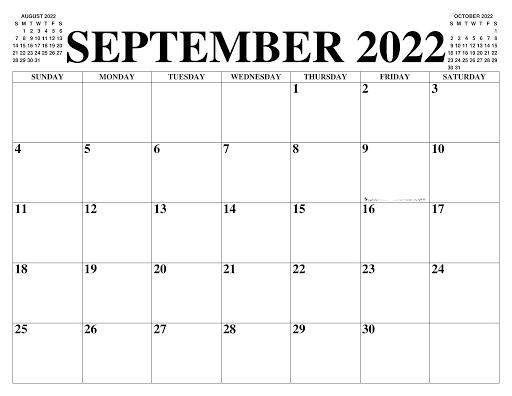 Calendrier Septembre 2022 à imprimer