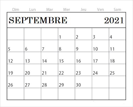 Calendrier Septembre 2021 Jours Fériés