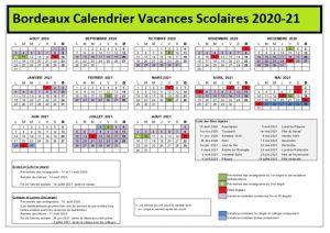Calendrier Vacances Scolaires 2020 Zone Bordeaux