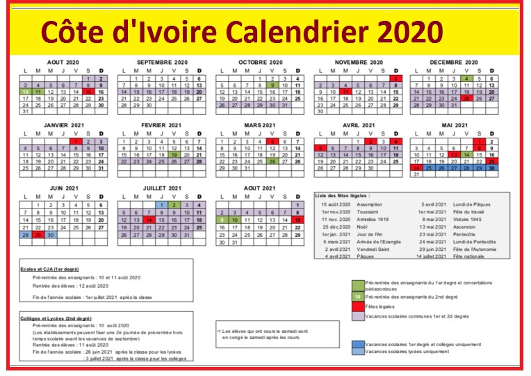 Calendrier Scolaire 2020 Côte d'Ivoire
