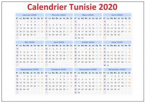 Calendrier 2020 Tunisie Avec Jours Feries