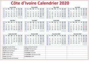 Calendrier Campus France Côte d'Ivoire 2020