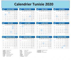 Calendrier 2020 Tunisie Excel