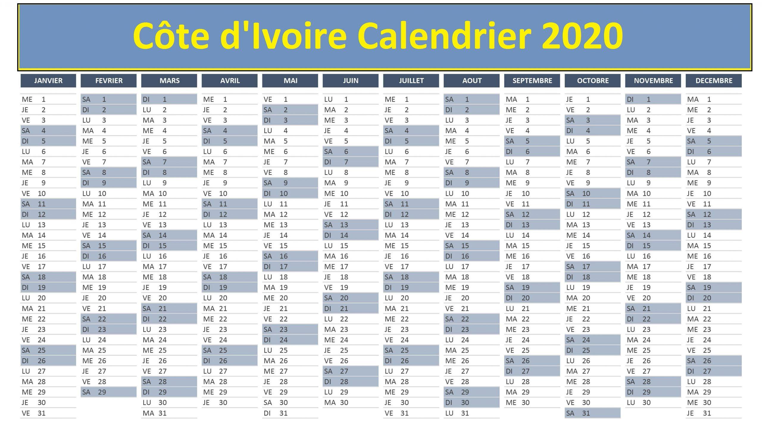 Calendrier Des Concours En Côte d'Ivoire 2020