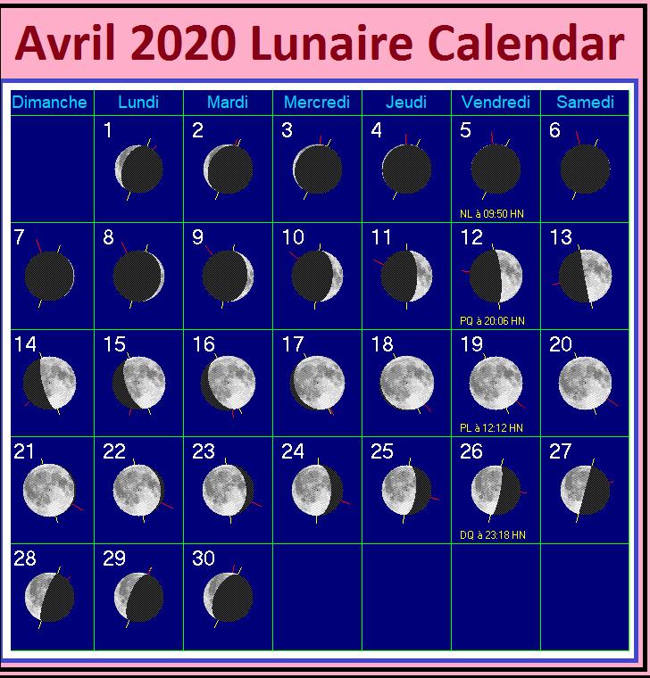 Calendrier Lunaire Mois D'Avril 2020
