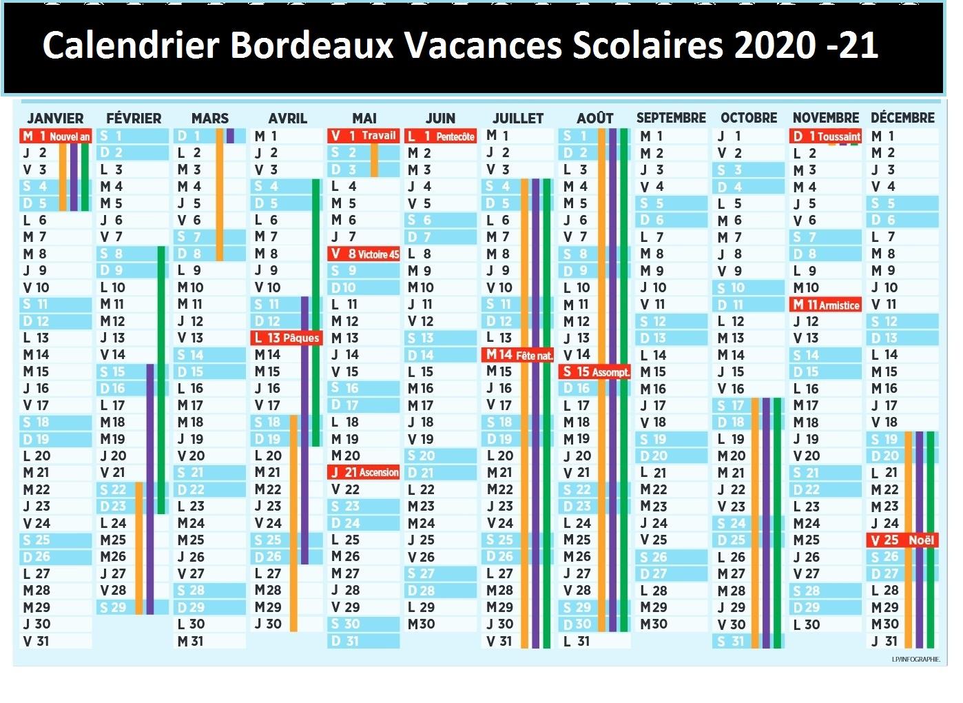 Calendrier Scolaire 2021 Bordeaux Calendrier Scolaire 2020 2021 en Bordeaux | Calendrier 2020