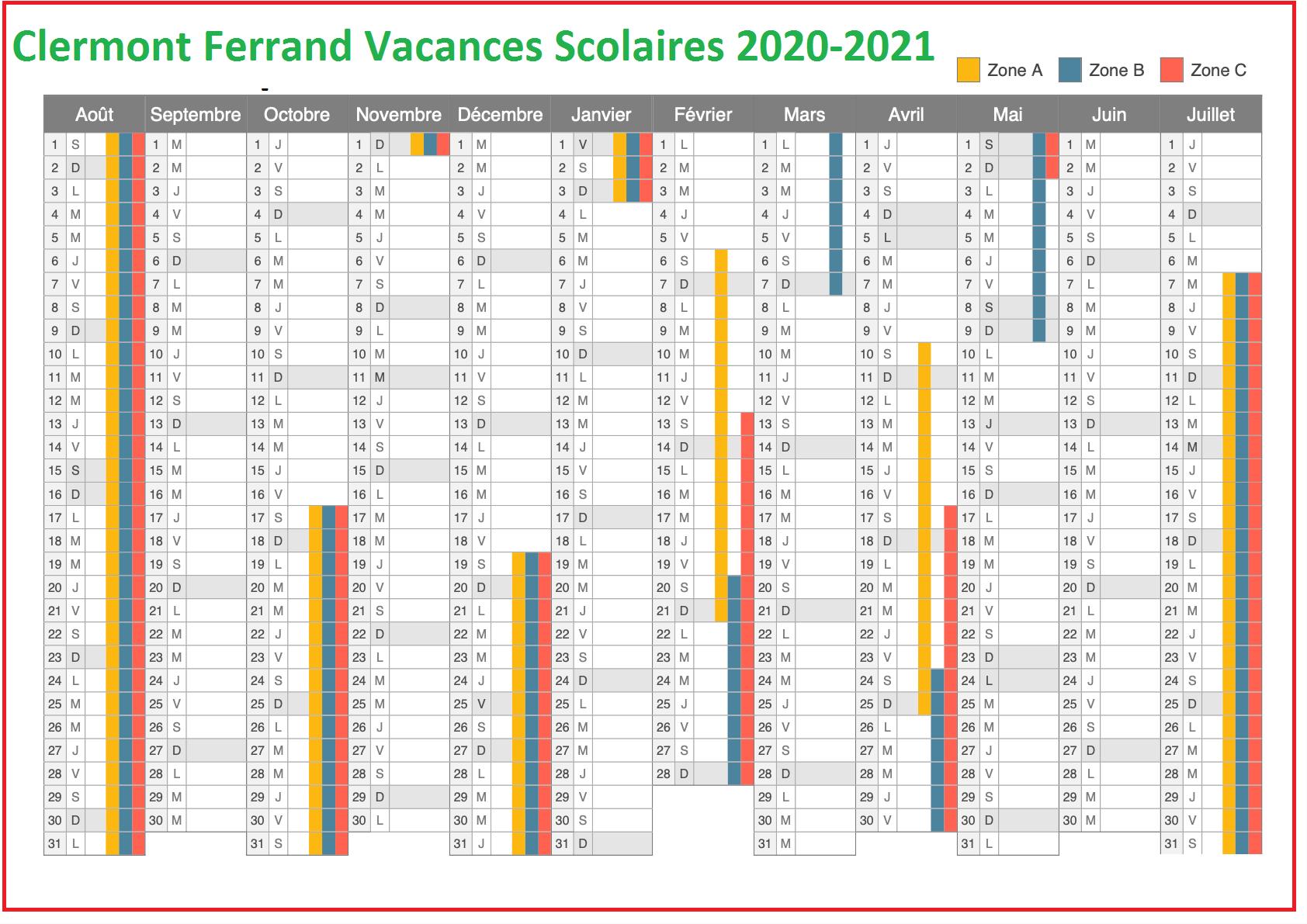 Vacances Scolaires 2020 Academie Clermont Ferrand