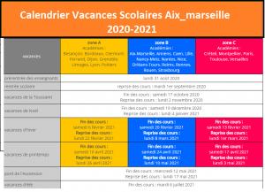 Aix Marseille Calendrier scolaire 2020-2021 à Imprimer